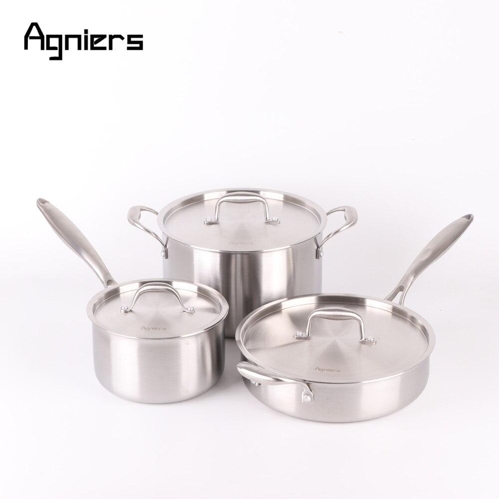 Agniers 6 pcs 3 casseroles Argent Mat En Acier Inoxydable batterie de Cuisine avec Couvercle en acier Inoxydable 24 cm Souppot + 20 cm Casserole + 26 cm Sautepan