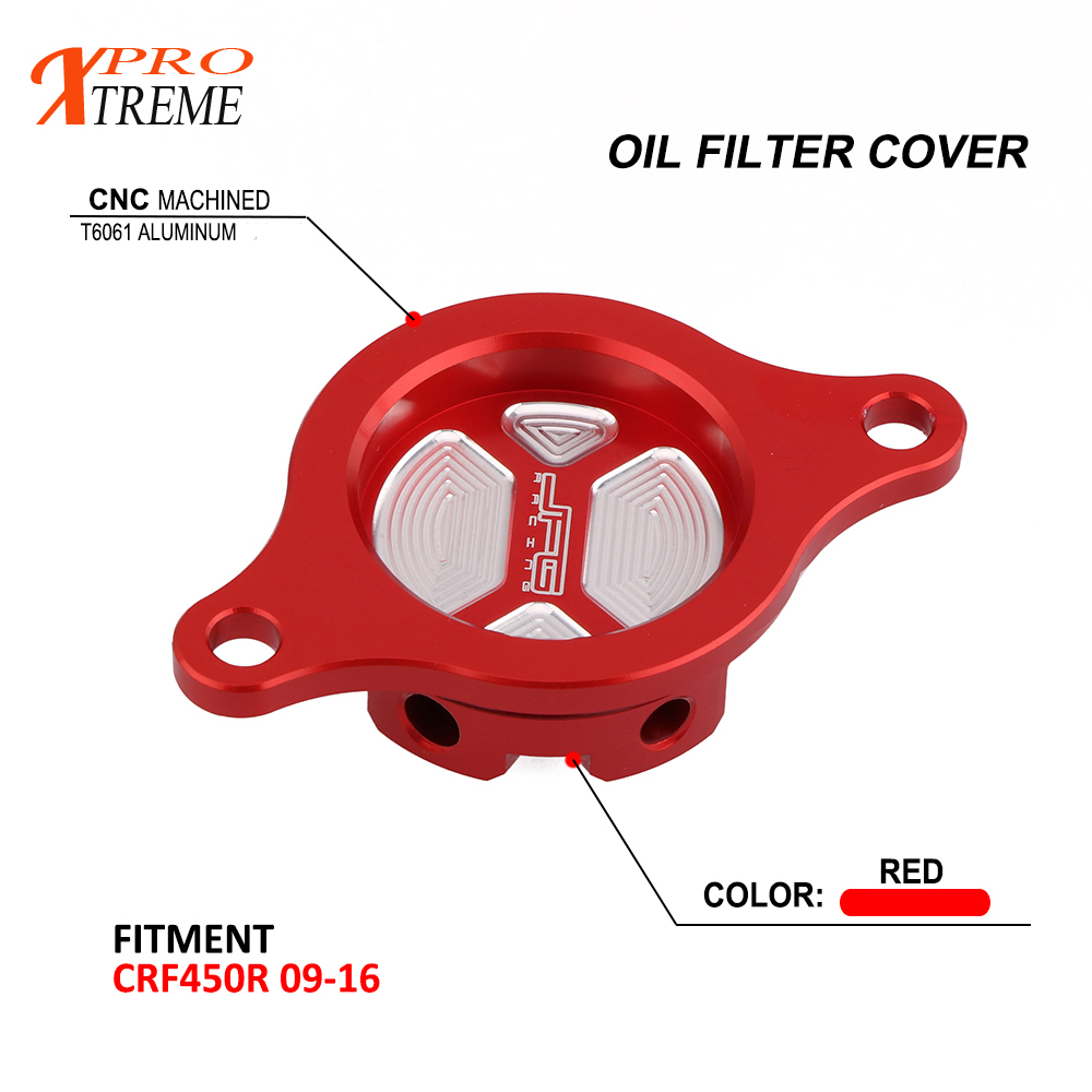 CNC Motorcycle Engine Oil Filter Cover Cap For Honda <font><b>CRF450R</b></font> CRF 450R 2009 2010 2011-2014 2015 <font><b>2016</b></font> CNC 6061-T6 Aluminum image