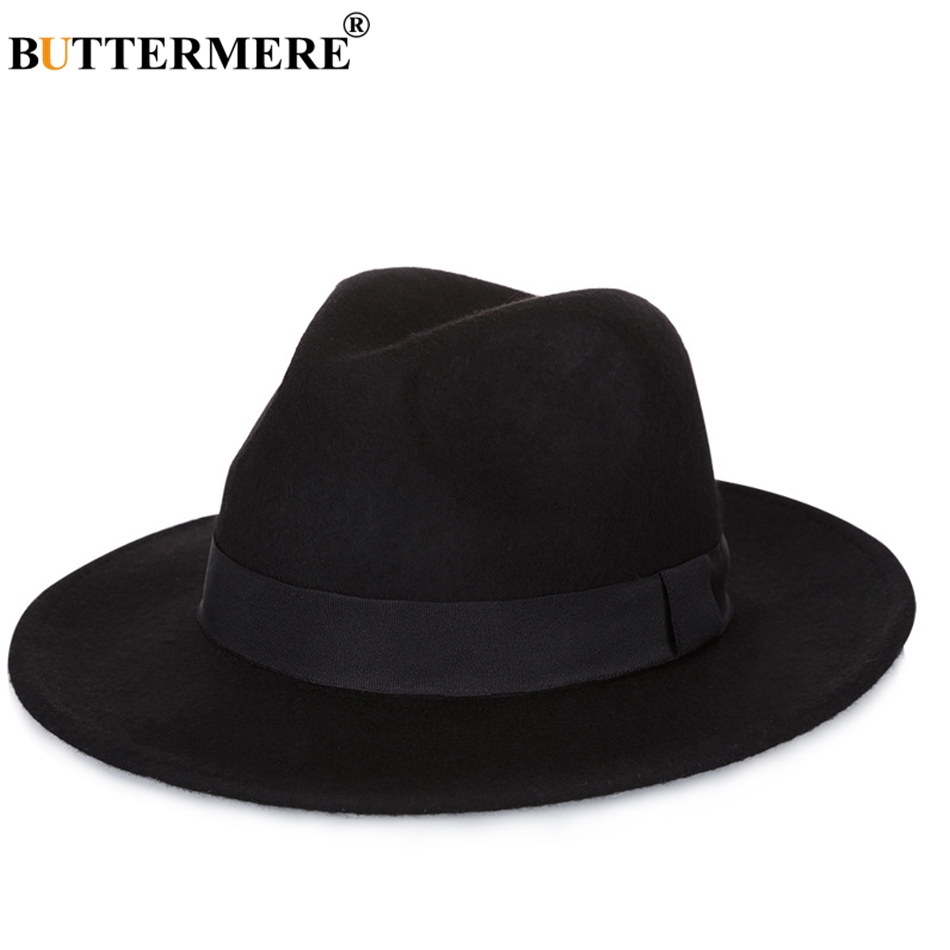 9fb7476cb29 BUTTERMERE Large Brimmed Hats Woman Wool Fedora Ladies Coffee Casual Jazz  Caps Men Solid Wide Brim