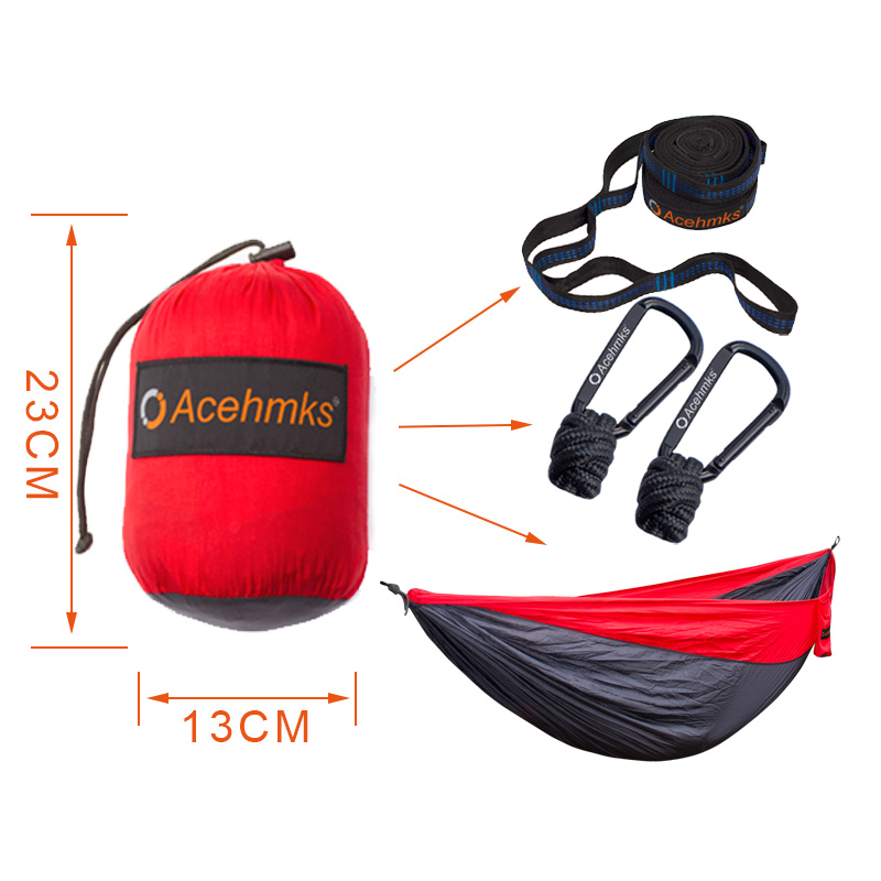 Acehmks Nylon Folding Hammock Ultralight Parachute Camping Swing Color Red Green Blue Orange With 2 Tree Straps Double XXXL Size