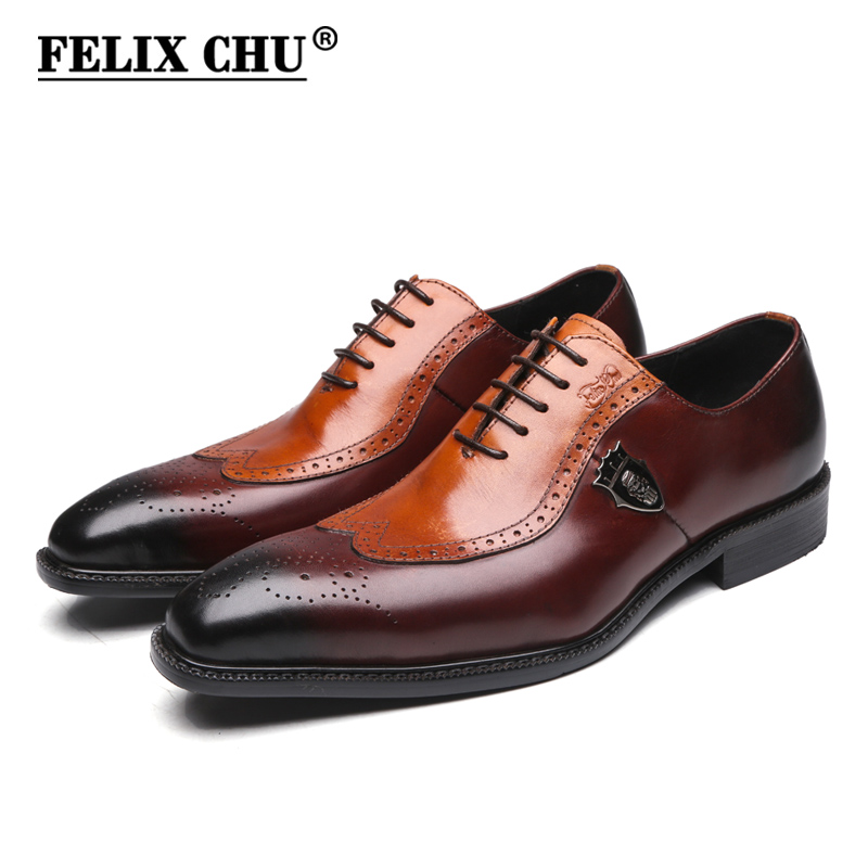 FELIX CHU Italian Style Genuine Leather Men Wedding Wingtip Brogue Shoes Lace Up Formal Dress Shoes Party Office Brown Oxfords