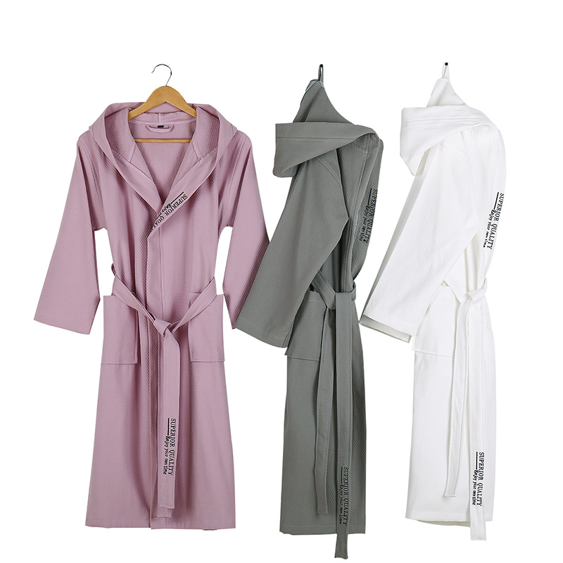 Lovers Summer Waffle Bathrobes Men Hooded 100% Cotton Suck Water Kimono Nightgowns Plus Size XXL Spa Bath Robe Spring Autumn