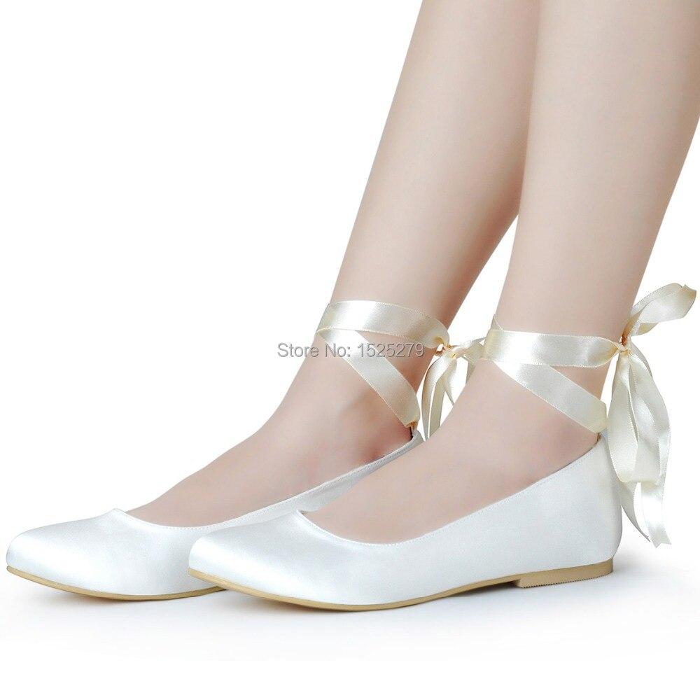 Fast Shipping EP11105-EU Ivory White Lace-up Women Bridal Party Flats Round Toe Comfortable Ribbons Satin Lady Wedding Shoes - Duosheng & Elegant store
