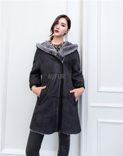 Women Merino Sheepskin Jacket Hooded Winter Real Lamb Fur Lining Casual Style Zipper Breasted Genuine Leather