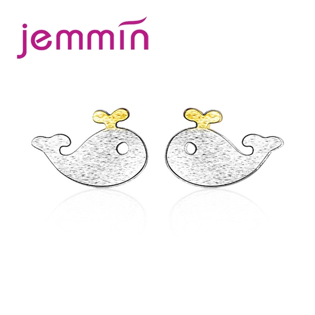 JEMMIN Cute Cartoon Yellow Whale 925 Sterling Silver For