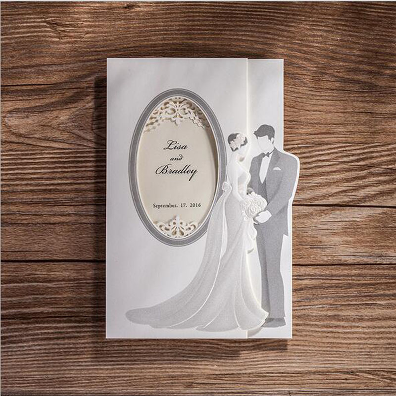 1pcs sample hollow white bride and groom laser cut wedding
