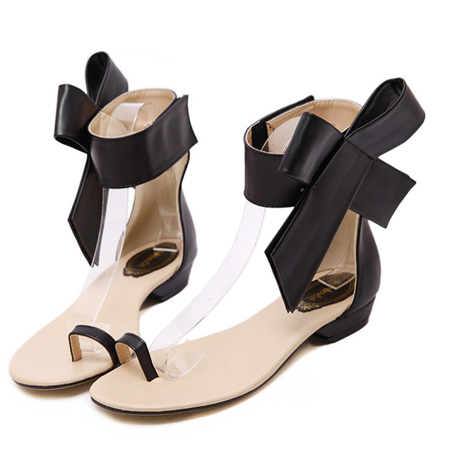 ad5f8e4e3 Hot Sale Women Bow Tie Ankle Strap Flats Gladiator Sandals Red Pink Leather  Clip Toe Flat