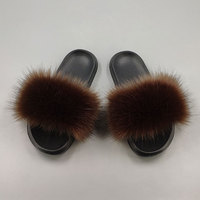15 colors fake fox fur slippers large size summer open toe fluffy fake fur slippers casual black slippers furry shoes