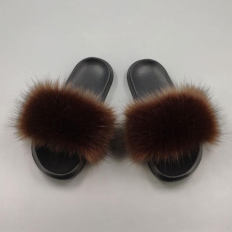 15 видов цветов Тапочки с искусственным лисьим мехом; большие размеры; Летние пушистые тапочки с открытым носком и искусственным мехом; повседневные Черные тапочки; меховая обувь