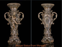 Art Deco Sculpture Holder Table With Cherub Little Angel Bronze Statue Healing Medicine Decoration 100% Brass Bronze