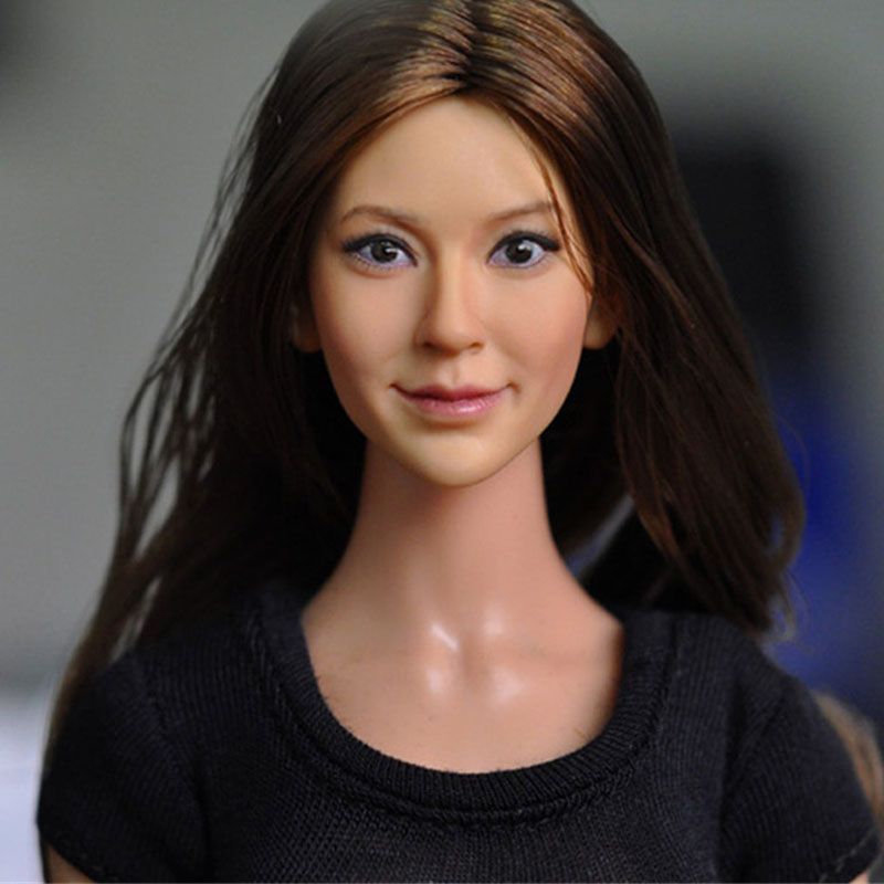 Mnotht 1/6 Aisa Long Brown Hair Carving Head Model Realistic Female Solider Head Carved For 12in Figures l25 die shi spot burning the soul of a model burns 1 6 head carved figures are base contains mask