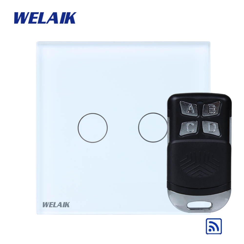 WELAIK Glass Panel Switch White Wall Switch EU remote control Touch Switch  Light Switch 2gang1way AC110~250V A1923CW/BR01 wall light touch switch 2 gang 2 way wireless remote control touch switch power for light crystal glass panel wall switch