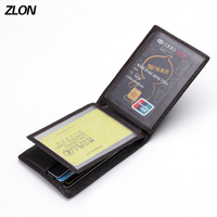 ZLON Men Genuine Leather Crocodile Pattern ID Credit Card Holder Business 3 Driver's icense Documents Card Men's Wallets K131