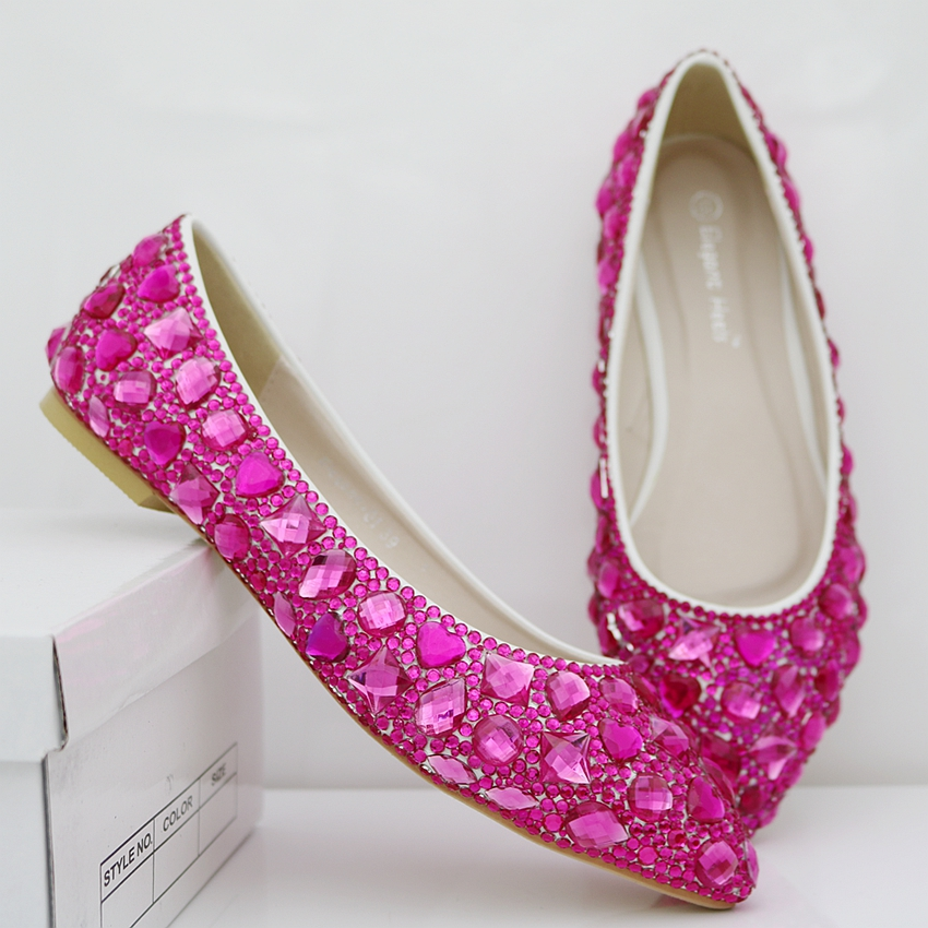 ФОТО Fashion fushcia pink Crystal rhinestone flats wedding shoes pointed toe rhinestone women shoes flats party princess shoes 2017