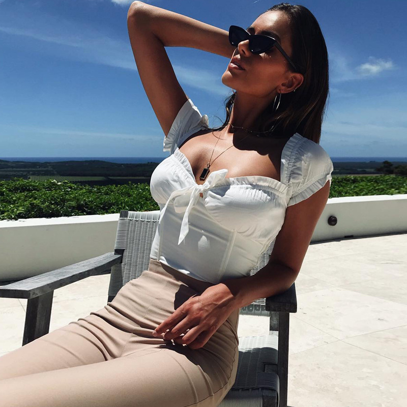 2018 Sexy Off Shoulder Ruched Bow Lace Up T Shirt Short Sleeve Summer Tee Women Top Streetwear T-shirt