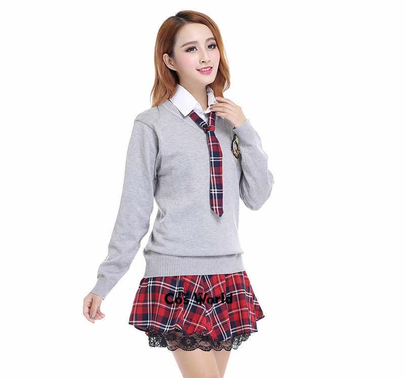 Аккуратный студенческий школьная форма Япония JK форма для средней школы Зимний серый свитер с v-образным вырезом красная клетчатая юбка белая рубашка костюм