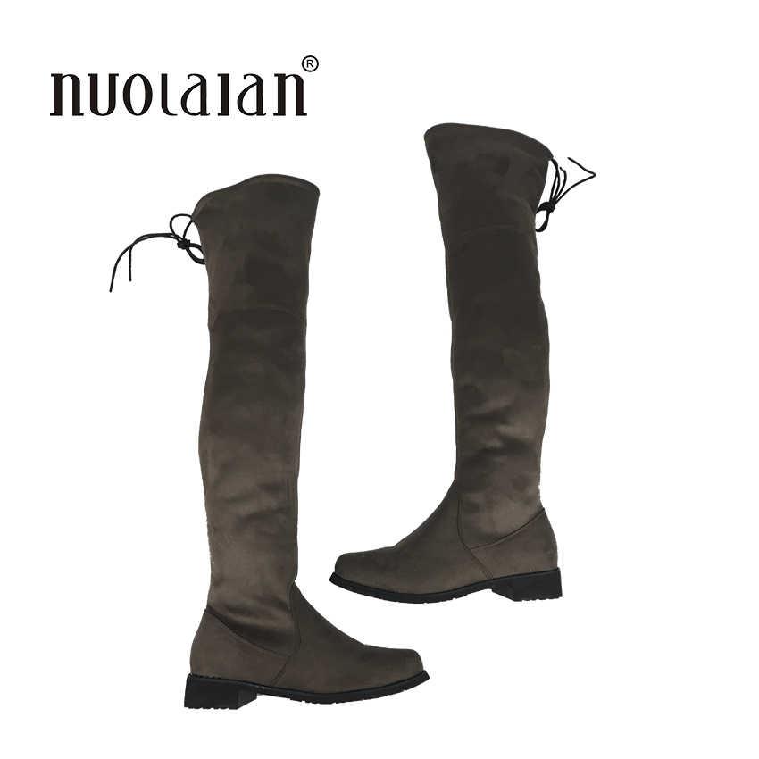 2018 donne coscia stivali alti sopra il ginocchio stivali da moto di inverno e di autunno scarpe da donna plus size 4-11 botas mujer femininas