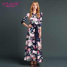 Long Fashion Print O-Neck Dress with Belt