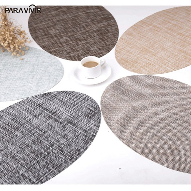 45X30CM Oval Padsu0026 Mats Non Slip Insulation Dining Table Mats Europe  Placemat Set High Quality