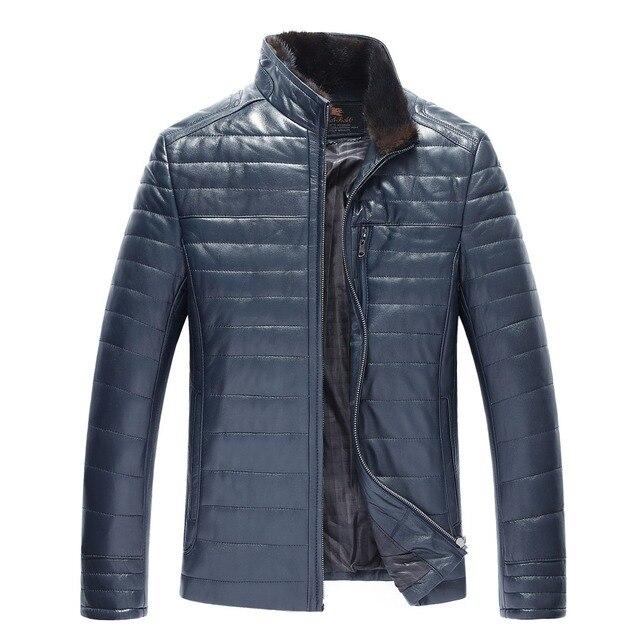 Novo Inverno Quente Jaqueta de Couro dos homens Casuais Moda Outerwear Homens jaqueta de Couro genunie com realmente gola de pele