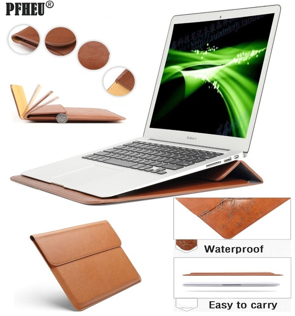 New Leather Sleeve Protector Bag Stand Cover For Apple Macbook Air Pro Retina 11 12 13 15 Laptop Case For Mac Book 13.3 inch