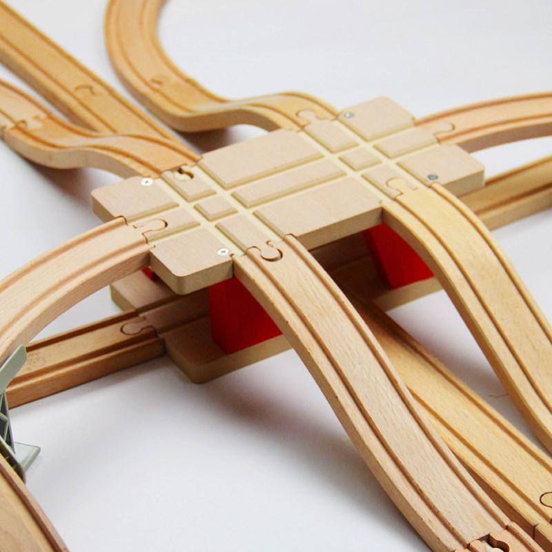 EDWONE Transportation Hub Track Train Slot Wooden Railway Train Circular Track Accessories Fit For Thomas Biro