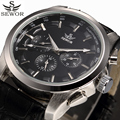 SEWOR Automatic Mechanical Watches Men Functional Business Watch Male Men's Black Clock Casual Wristwatch Relogio Masculino