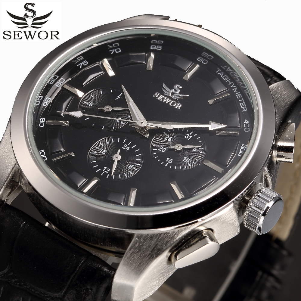 Prix pour SEWOR Automatique Mécanique Montres Hommes D'affaires Fonctionnel Montre Mâle Hommes de Noir Horloge Casual Montre-Bracelet Relogio Masculino