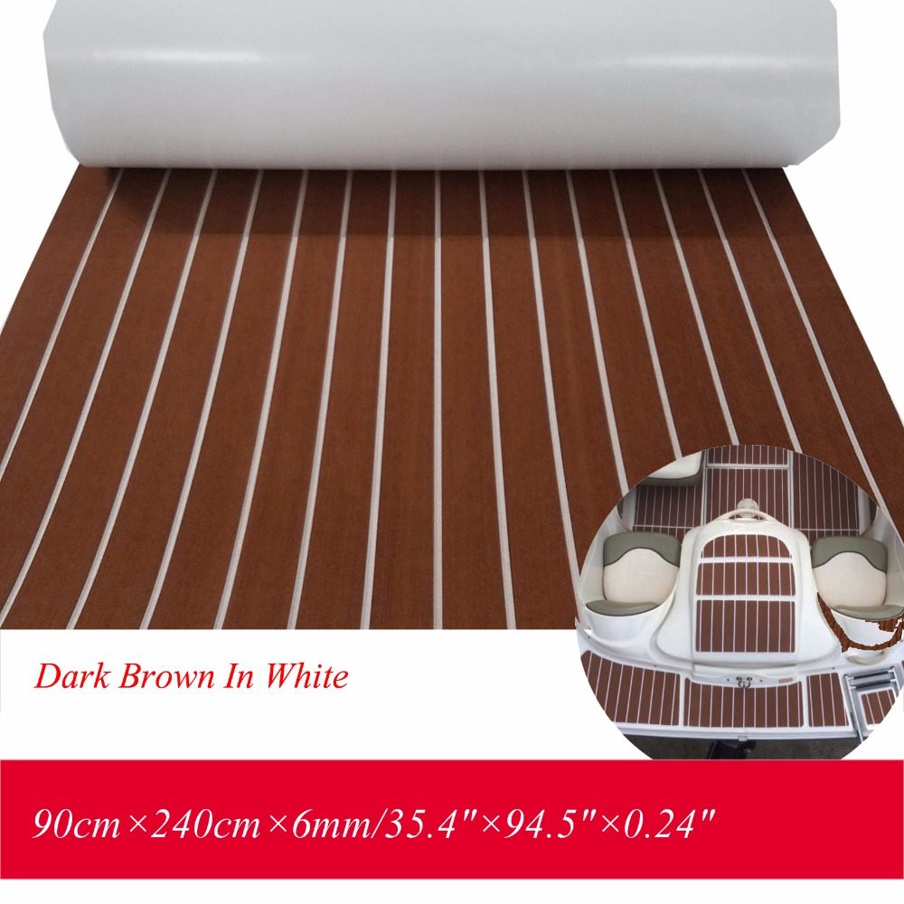 EVA Teak Decking Sheet For Boat Yacht Marine Flooring Mat Carpet 90cm240cm6mm Dark Brown With White Caulking Boat Accessories