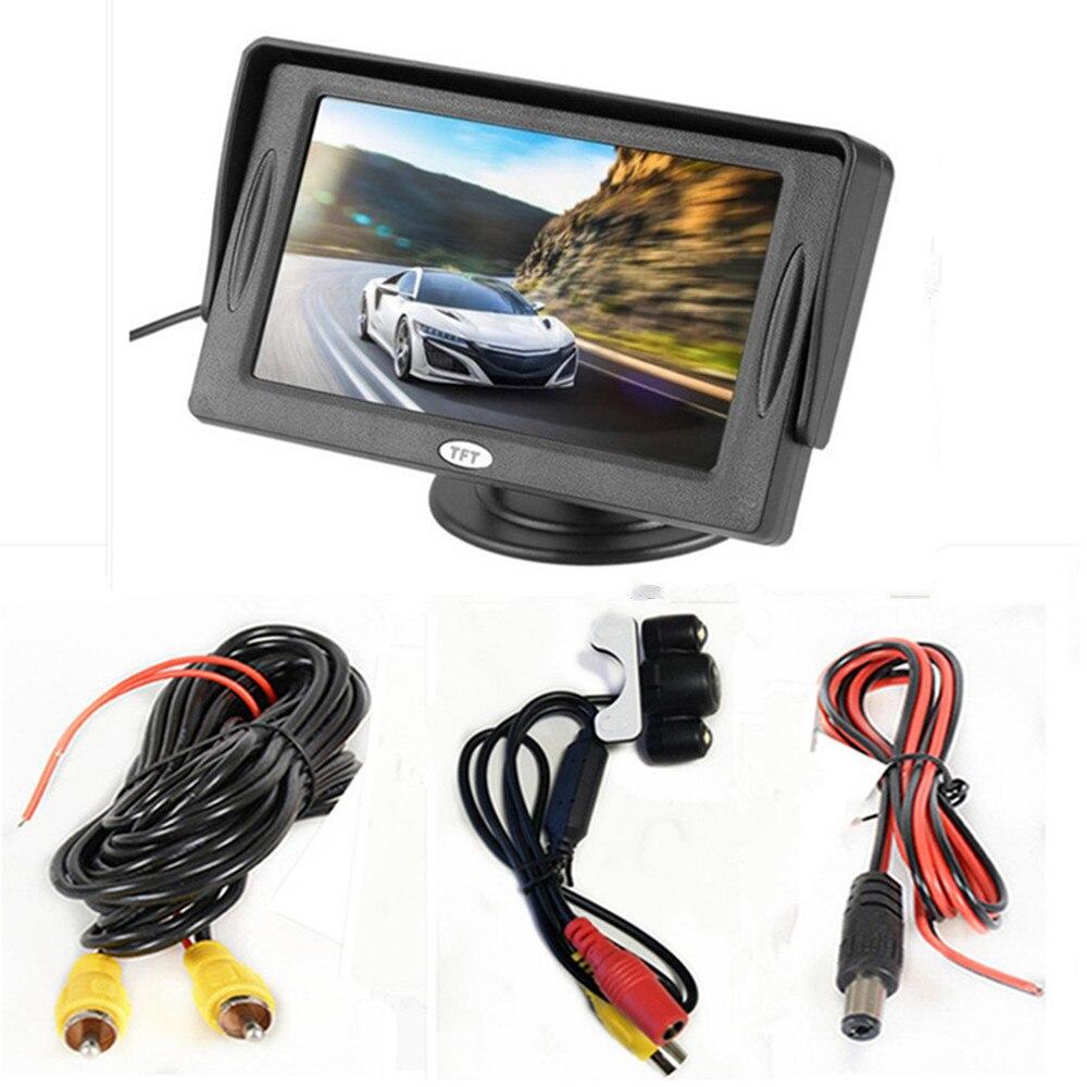 4,3 дюймовый TFT ЖК-цветной экран автомобильный монитор заднего вида парковочная помощь, камера заднего вида опционально - Цвет: With camera wired03