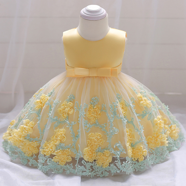 03ff85671 Baby Girl Dress Yellow 3D Rose Flower Embroidered Tulle Dress Fluffy Tutu  Pageant Dress Party Prom Lace Frock A015 bebe Vestidos