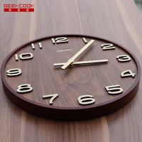 Geekcook wall clock wood 14'' 12'' Wooden Wall Clock quality big clock No reflection study living room vintage retro wall clock