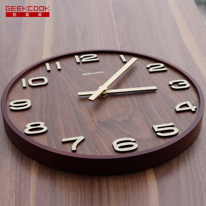 Geekcook horloge murale bois 14 ''12'' horloge murale en bois qualité grande horloge pas de réflexion étude salon vintage rétro horloge murale