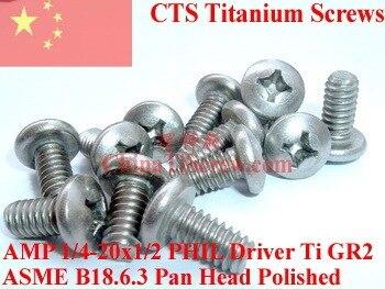 Titanium screws 1/4-20x1/2 Pan  Head PHIL Driver Ti GR2 Polished 50 pcs