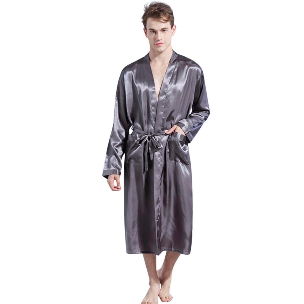 Gewidmet 2019 Neue Frühling Herbst Luxus Bademantel Männer Solide Satin Pyjamas Kimono Sommer Männlichen Nachthemd Saten Robe Albornoz Hombre Badjas 10 Klar Und GroßArtig In Der Art