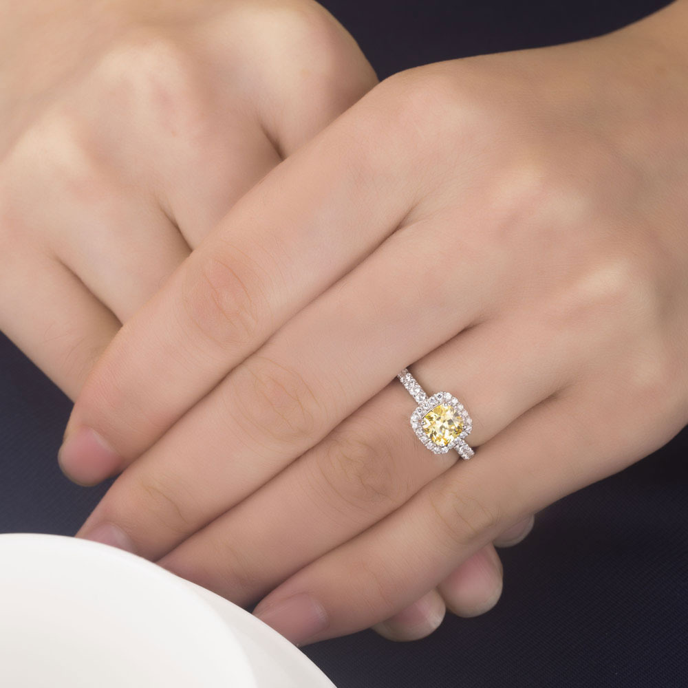 Relatively 1CT Solid Gold 14k Yellow Cushion Cut Flash Diamond Women  AX96
