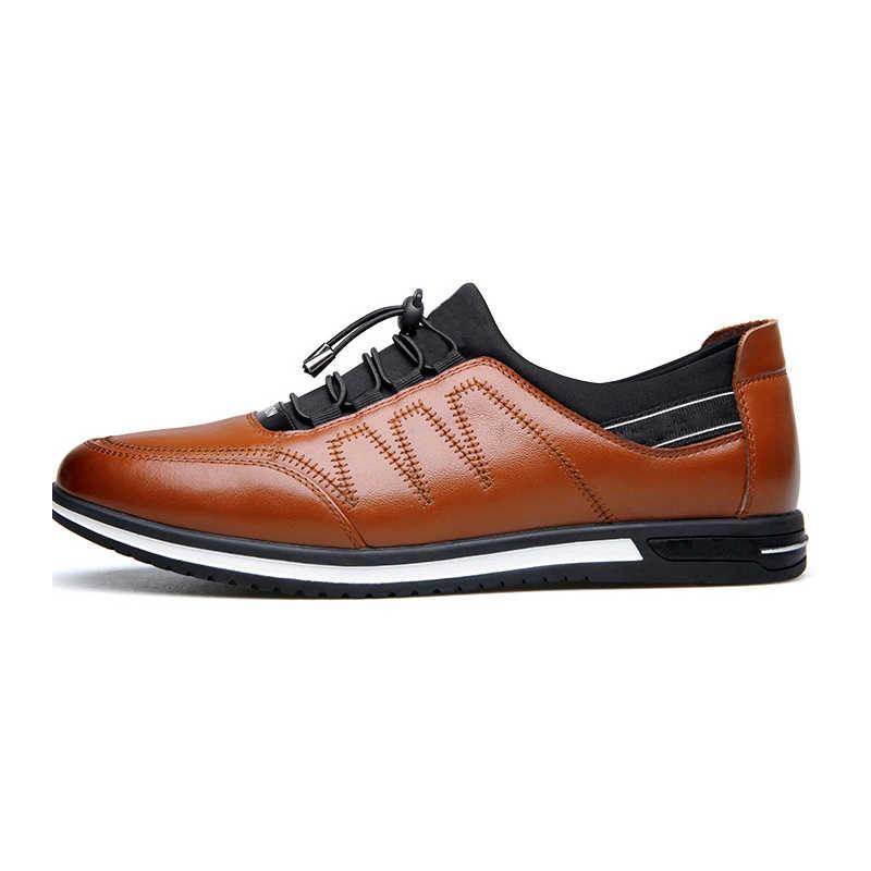 LINGGE ใหม่ผู้ชายสบายๆรองเท้าหนังแท้รองเท้าผ้าใบแฟชั่น Breathable ชายรองเท้ากลางแจ้งรองเท้าลื่นบนรองเท้าแบนรองเท้า