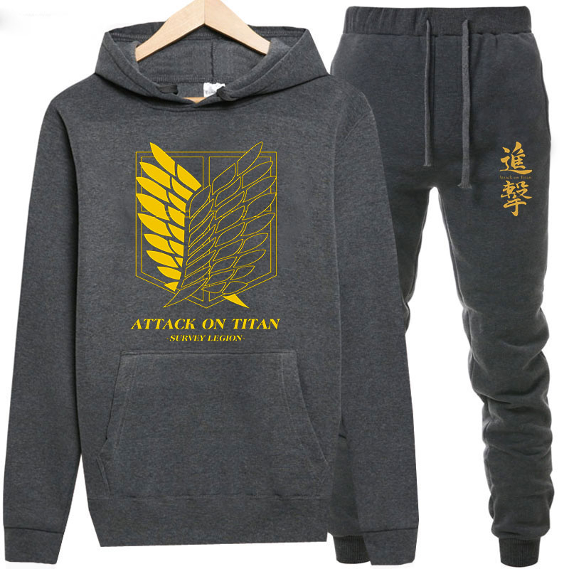 Sweatshirts+Sweatpants Suits Attack on Titan Print Hoodie Men/Women Pant Hoodies Spring  Warm Fleece Hooded Pullover Outdoor