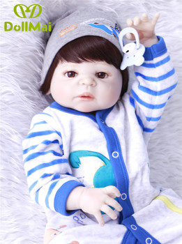 "Silicone dolls reborn baby boy lifelike 22""55cm children gift toy dolls bebe alive reborn bonecas  can enter water"