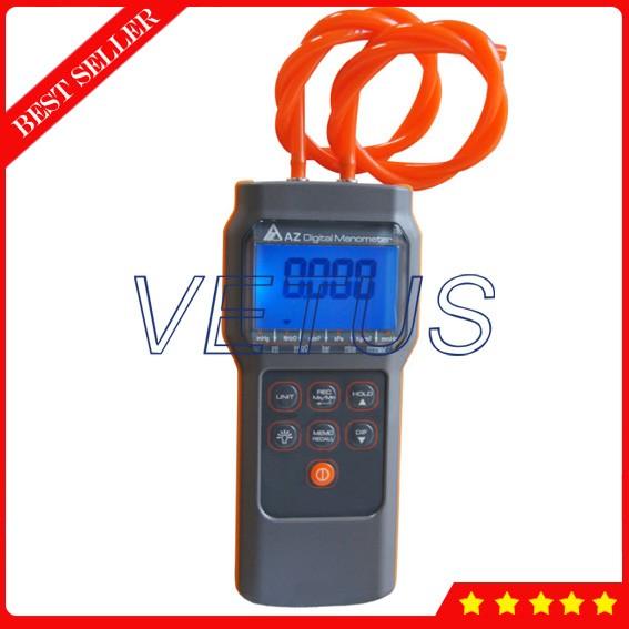KKmoon Digital Air Pressure Meter 12 Unit Dual Port Differential Pressure Gauge HVAC Gas Pressure Tester Large LCD Backlit Auto Power Off Handheld Barometer Natural Gas Analyzer Manometer