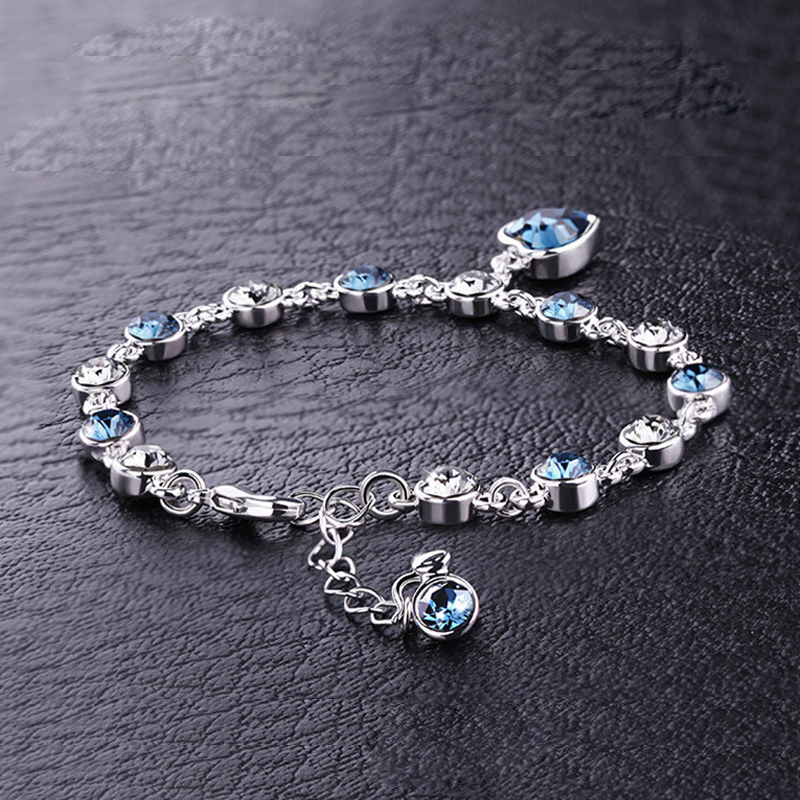 1pc Blue Rhinestone Love Heart Shaped Alloy Chain Bracelet Cuff Bangle Elegant Women Party High Quality Gift Jewelry