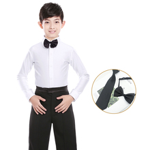 Classical White Boys Kids Latin Dance Costumes Shiny Spandex Modern Ballroom Tango Rumba Shirts