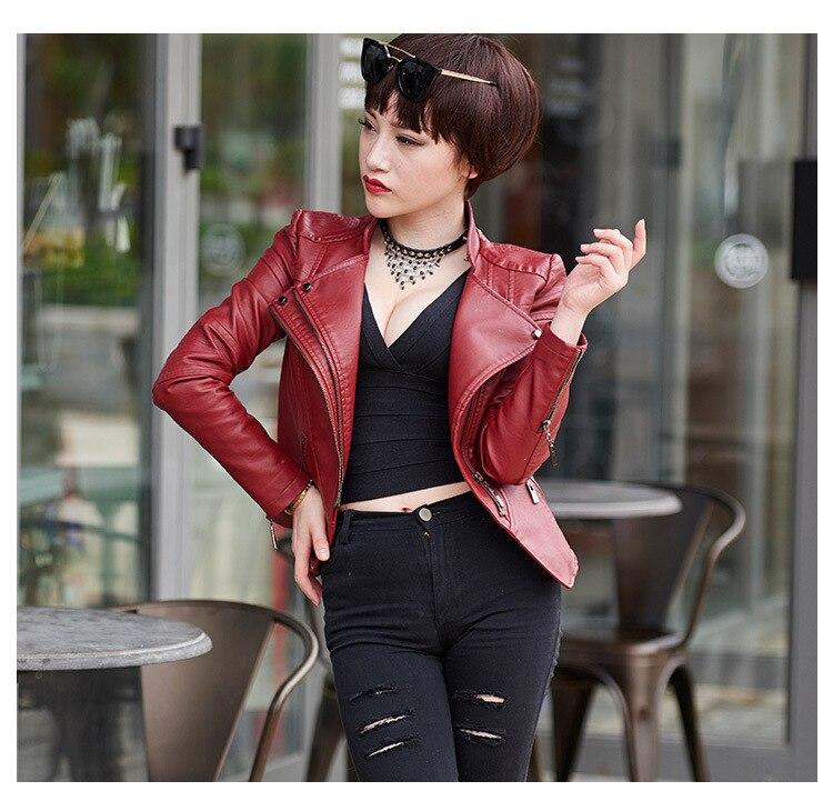 Jaquetas blanc Moto Manteau Marque Cool Noir En rouge Cuir Pu Jaqueta Femininas 2016 Couro Femme Noir Blanc Rouge Vestes De vzxOqfwH