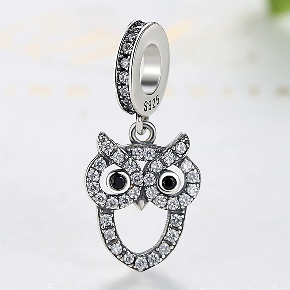 Fit Original Pandora Charm Bracelet Sterling Silver 925 Animal Owl Charms Pendant with Cubic Zirconia Bead DIY Jewelry Gift