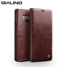QIALINO אופנה אמיתי עור טלפון כיסוי לסמסונג גלקסי הערה 9 יוקרה Ultrathin כרטיס חריץ Flip מקרה עבור סמסונג הערה 9