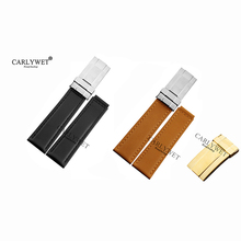 CARLYWET 19 20mm VINTAGE Black Brown Real Calf Leather Watch Band Strap with Silver Steel Clasp