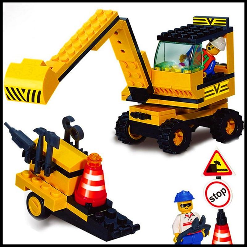 Enlighten 106Pcs Building Blocks Toy Excavator  Assemble Figure Educational Brick Brinquedos For Kids Compatible Legoe decool 3117 city creator 3 in 1 vacation getaways model building blocks enlighten diy figure toys for children compatible legoe