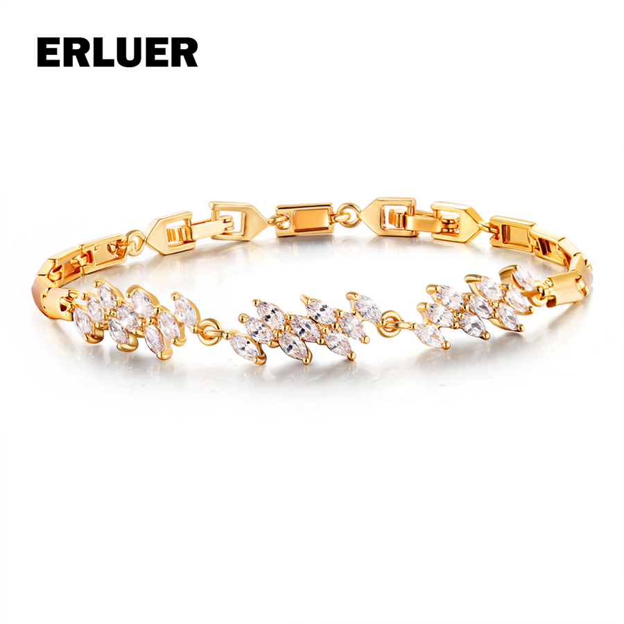 ERLUER brand gold color charm bracelet femme popular Cubic Zirconia bracelets bangle women Party hand chain Birthday gift