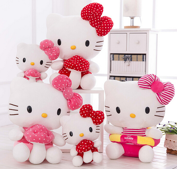 цены  1pc 30cm 40cm cartoon sweet hello kitty cat hold mushroom plush doll pillow cushion stuffed toy children Valentine's Day gift