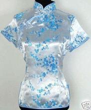 New Fashion Light Blue Ladies' Satin Shirt Tops Short Sleeve Flower Blouse Chinese Vintage Tang Suit Size S M L XL XXL J002-C